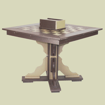 Checker Table with Scallop Base, Patio Height