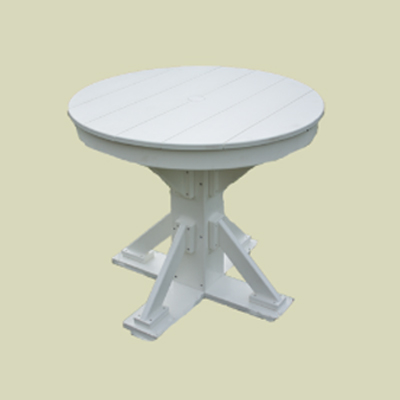 Patio Height Table, Round Top with Straight Brace